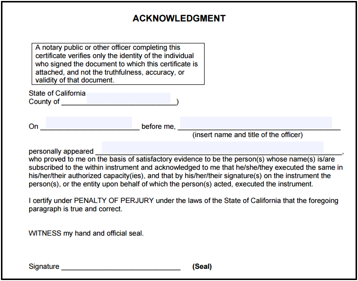 California Notary Acknowledgment Notary Public Forms – Sample Notary Statements