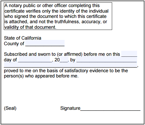 California notary jurat notary public form for administering oath california notary jurat ccuart Images